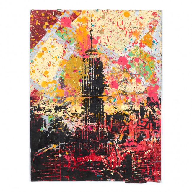 Empire State Building> Limited Hand Embellished Print by Bobby Hill