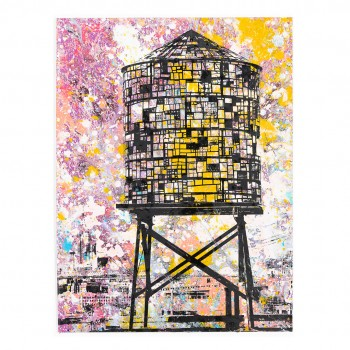 Tom Fruin Water Tower, Brooklyn, NYC> Limited Hand Embellished Print by Bobby Hill