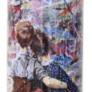 Work Well Together- Cyan> Limited Spray Paint Can Artwork by Mr Brainwash