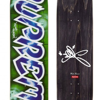 Lee Quinones Logo Deck- Blue> Limited Art Skateboard by Supreme