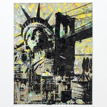 Statue Of Liberty- Brooklyn Bridge- Water Towers> Limited Hand Embellished Print by Bobby Hill
