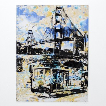 Golden Gate Bridge & Trolley> Limited Hand Embellished Print by Bobby Hill