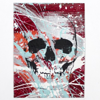 Skull No Line> Limited Hand Embellished Print by Bobby Hill