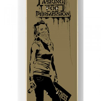 Stop Asking For Permission- Gold> Limited Art Skateboard by Eddie Colla