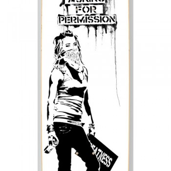 Stop Asking For Permission- White> Limited Art Skateboard by Eddie Colla
