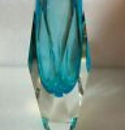 MCM Murano Vase-  Sapphire Blue Clear