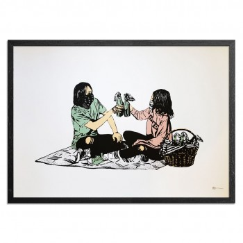 Picnic> Limited Hand Embellished Print by MAD
