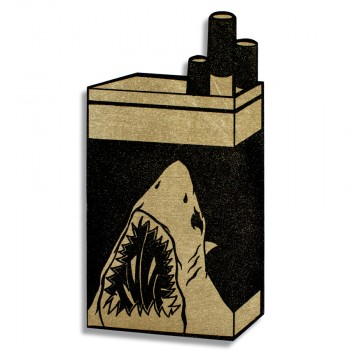 Shark Icon- Gold> Original Laser Cut Wood by Shark Toof